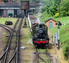 Patiently Waiting (Mirrorfinish) Tags: train railway steam locomotive loughborough greatcentralrailway gcr frieghttrain 46521 lmsclass2260no46521