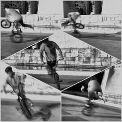 image (Luis Iturmendi) Tags: madrid street blackandwhite bw blancoynegro monochrome bicycle speed monocromo calle bmx streetphotography bikes bicicleta dirt cycle bici trick velocidad rider