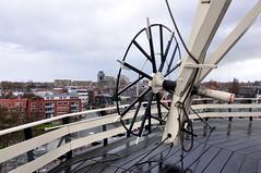 Turning wheel of windmill De Valk (Michiel2005) Tags: holland netherlands leiden view nederland uitzicht molen devalk molendevalk