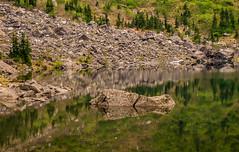 Boulder in Lake (rich trinter photos) Tags: lake reflection landscape boulder goose alpine mountainlake mountainloophighway laketwentytwo