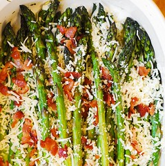 Asiago, Bacon, and Garlic Roasted Asparagus (JuliasAlbum.com) Tags: vegetables cheese bacon healthy asparagus garlic asiago glutenfree