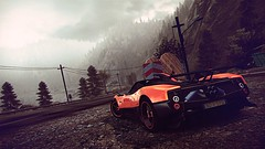It's Getting Cold... (polyneutron) Tags: orange mountains wet car forest photography overcast automotive videogame needforspeed supercar zonda nfs pagani hotpursuit photomode hp2010