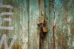 aqua blue and textured beauty (Sam Scholes) Tags: chipped split peeling paint rust lock aqua texture rusted chips travel urban decay locked door croatia europe blue green vacation bluegreen peelingpaint urbandecay splitskodalmatinskaupanija hr