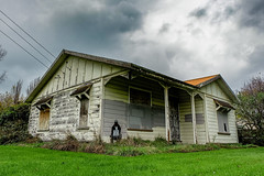 Abandoned home. (leah-nz) Tags: sky house abandoned grass outdoor empty derelict unused