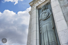 Monumental (alun.disley@ntlworld.com) Tags: sky sculpture weather statue clouds memorial stonework lookingup birkenhead warmemorial wirral lowpov
