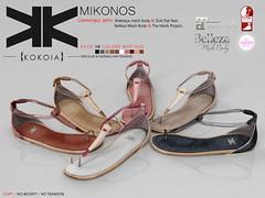 Mikonos :: Woman :: 10  Colors ({kokoia}) Tags: summer shoes flat mesh sandals bare belleza mikonos tmp maitreya slink secondlfie kokoia themeshproject