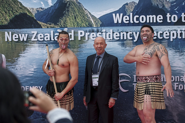 Vladimir Zubkov posing with the New Zealand Maori performers