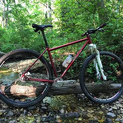 Back in the woods, life is good!  #weavercycleworks #custombicycles #singlespeed #29er