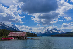 Maligne Lake (Caitlin Sparks) Tags: park blue house lake canada boat jasper columbia louise national canoes alberta parkway banff boathouse maligne icefield