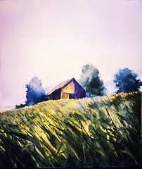 Too Early, Dad. (lawyertomkaren) Tags: city morning vacation field grass childhood rock barn sunrise watercolor painting tennessee hill hillside