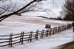 hayroll fence (cathybakerhudson) Tags: winter field fence outdoors vermont hay shelburnefarms