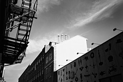 R1-033-15 (David Swift Photography Thanks for 16 million view) Tags: houses film philadelphia 35mm shapes murals fireescape ilfordxp2 chimneys oldcity yashicat4 davidswiftphotography