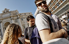 Cold shoulder. (Baz 120) Tags: life street city italy rome colour roma contrast italia faces candid strangers streetphotography streetportrait streetphoto streetfaces omd decisivemoment candidportrait candidphotography m43 streetcandid mft streetphotograph em5 romestreets romepeople candidstreet candidface flashstreetphotography romecandid grittystreetphotography