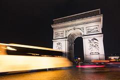 The Arc de Triomphe (Origin_AL) Tags: travel blur paris france building cars monument architecture night evening europe handheld lighttrails slowshutterspeed champslyses placecharlesdegaulle sonyrx100mk4