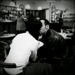 The kiss..... (Rino Alessandrini) Tags: bacio coppia amore biancoenero contrasto interno colazione bar affetto intimit couple kiss love blackandwhite contrasting interior breakfast intimate affection