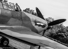 Hawker Hurricane Mk I G-HUPW R4118 UP-W (Dan Elms Photography) Tags: bw monochrome canon mono hurricane ww2 shuttleworth battleofbritain hawkerhurricane seasonpremiere 24105l 70d oldwarden upw 24105mml r4118 ghupw theshuttleworthcollection danelms talldan76 danelmsphotography