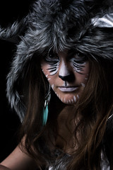 Wolf (Willers1404) Tags: portrait woman reflection monochrome beautiful make up mirror dc costume furry ally nikon wolf key fierce low young saturation softbox 105mm strobist