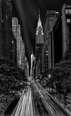 Manhattan under Moonlight - Explored (LJP40) Tags: nyc longexposure urban blackandwhite bw usa ny newyork monochrome skyline skyscraper mono blackwhite nikon cityscape manhattan le lighttrails chryslerbuilding 42ndstreet ndfilter nikond700 juliaannagospodarouworkshop