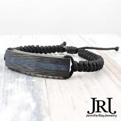 Blue core sidecut carbon fiber bracelet with a slim snake band. Your choice for band color  Available via JenniferRayJewelry.com Worldwide shipping via FedEx  #jenniferrayjewelry #jrj #carbonfiber #sidecut #blue # (JenniferRay.com) Tags: ray jennifer jewelry carbon custom fiber exclusive paracord jrj instagram