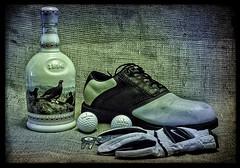 Famous Grouse (IAN GARDNER PHOTOGRAPHY) Tags: stilllife golf whisky decanter famousgrouse golfballs golfglove divotfork