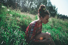 154 (Malvina Lavrientieva) Tags: nature portrait girl dreadlocks grass sun summer glasses rowan ukulele