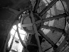 Crooky decay 2 (PhillMono) Tags: olympus dsl dslr e30 black white monochrome sepia shadow light maritime nautical history heritage australia crookhaven heads lighthouse ruin relic rust decay abandoned new south wales spiral stair staircase perspective