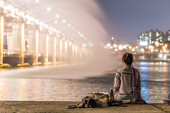 Enjoying the Show at Banpo Bridge (Ricky Reardon) Tags:              seoul korea asia banpo bridge fountain color colour date han river hangan sum som island dusk skyline tourism long exposure park spray popular tourist spot colorful night scene urban photography street cityscape city lights some sevit sebit