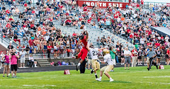 High school football: wide view (rikki480) Tags: offense play wide receiver pass leap jump incomplete attempt highschool football game bishop dwenger northside fortwayne indiana chambers field stadium