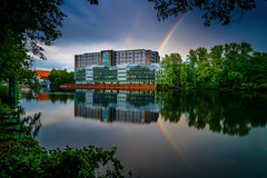 the double rainbow (K.H.Reichert) Tags: longexposure architektur rainbow reflection spiegelung regenbogen officebuilding lake reflexion langzeitbelichtung potofgold berlin