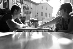 Drinking / smoking (m-blacks) Tags: carcassonne france aude travel vacation summer holiday august carcassona francia street streetphotography blackandwhite people motherandson smoking drinking backlight