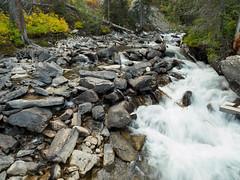Turbulence. (Ethan Cheng) Tags: stream olympus waterfall epl7 mzuikodigitaled12mmf20 grandtetonnationalpark wyoming 12mm grandtetonnp pen penlite brook