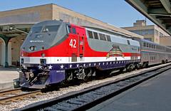 Honoring the Veterans, Promoting Train Travel (craigsanders429) Tags: amtrak toledoohio amtrakp42locomotives amtrakmotivepower amtrakp42no42 amtraksveteranstributelocomotive toledonationaltrainday2015 nationaltraindayintoledo