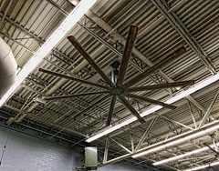 Walmart ceiling & Whickerbill fan (SteveMather) Tags: building lines architecture speed fan high low large ceiling walmart dxo trusses volume topaz iphone adjust 6s bigassfans opticspro hvls wickerbill