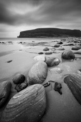 Rackwick beach (Premysl Fojtu) Tags: uk longexposure sea blackandwhite bw seascape beach nature water monochrome beautiful clouds rural canon landscape island eos bay coast scotland countryside sand orkney rocks cloudy shoreline wideangle boulders filter shore northsea hoy coastline dreamy dslr breathtaking dreamscape rackwick 2015 ndfilter ef1740 1000x 5dmkii