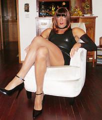Karen (Karen Maris) Tags: highheels legs femme tights karen tgirl transgender tranny transvestite heels latex pantyhose crossdresser crossdress tg transsexual blackdress trannie tgurl