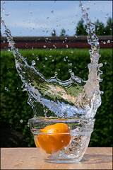 Splash 2. (ikerr) Tags: orange water lumix photo video bowl drop panasonic splash grab 4k tz100 dmctz100
