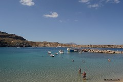 Lindos (Eleanna Kounoupa) Tags: blue sea sky seascape water weather clouds boats islands rocks greece beaches swimmers rodos lindos     dodecaneseislands