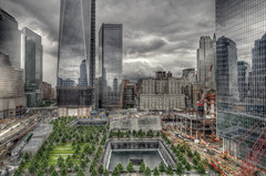 New York City (mudpig) Tags: reflection fountain outdoors photography construction cityscape dramatic westsidehighway footprint hdr cloudscape memorialday 2012 fido 911memorial 7worldtradecenter mudpig 1worldtradecenter oneworldtradecenter stevenkelley