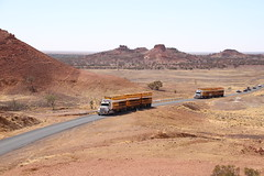 Road Train & Cattle (BattysGambit) Tags: road blue red desert rally australia lookout hills qld queensland outback dust skys development townsville winton hughenden boulia 2015 shitbox cawnpore lilleyvale