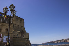 Napoli, Castel dell' OVO (Franco Santangelo (thx for 700.000+ views)) Tags: blue sea summer sky italy castle lamp skyline canon skyscape photography interesting italia campania sigma medieval naples eos600d