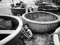 boat and child (shootlah!) Tags: street leica bw white black 50mm child ne vietnam omd mui em5