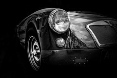 MG A Twin Cam '57 (BartvanDam) Tags: blackandwhite bw english monochrome classiccar mg oldtimer mga ricohgr twincam bartvandam