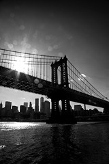 Manhattan Bridge BW (jaberwockysteve) Tags: travel bridge blackandwhite usa newyork brooklyn america moody traffic manhattan tourist manhattanbridge