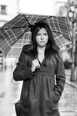 Nerea 45 (rokobilbo) Tags: street winter portrait blackandwhite woman cold umbrella bilbao nerea