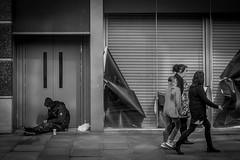 Hunger city (BazM:Photog.......:-)) Tags: uk bw blancoynegro manchester blackwhite britain streetscene beggar streetphoto society shopfront socialcommentary vagrant crossstreet manchesterstreet sleepingrough streetcandid austerity closedshop northwestengland headturning shitbritain turnedhead britaintoday austeritybritain bazmatthews