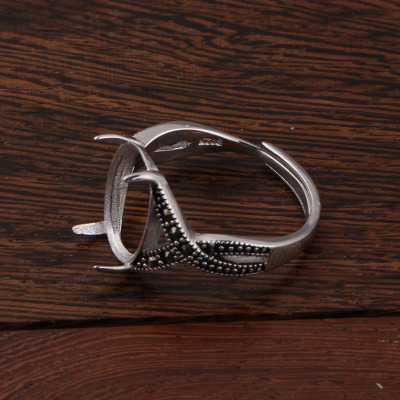 Wholesale 925 sterling silver ring supporting custom inlaid amber