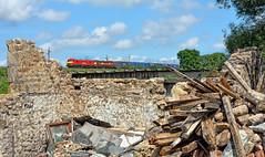 Sticks & Stones (whosoever2) Tags: old uk greatbritain railroad england train nikon unitedkingdom ruin railway lancashire gb derelict freight dbs intermodal forton class90 90035 dbcargo d7100 90040 4m25