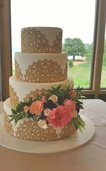 Gold Lace Beauty (Sticky Fingers Bakery Specialty Cakes) Tags: wedding roses cake vegan weddingcake lilies raspberry vanilla organic ferns peonies fondant buttercream gumpaste sugarflowers ediblelace cakelace