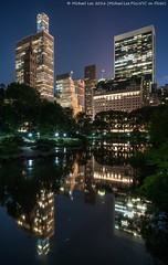 Pond Reflection (DSC01610) (Michael.Lee.Pics.NYC) Tags: longexposure newyork reflection architecture night pond cityscape centralpark sony fifthavenue gapstowbridge a7rm2 zeissloxia21mmf28