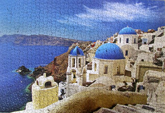 Santorini Island, Greece. (pefkosmad) Tags: blue vacation white holiday church buildings island vacances hobby puzzle santorini greece leisure jigsaw greekislands griechenland cyclades pastime 1000pieces worldssmallest cheatwellgames